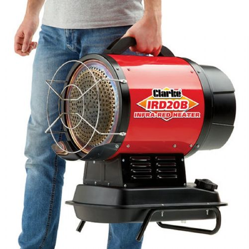 Clarke IRD20B Portable Diesel Infra-red Heater 20Kw / 68000Btu With Ergonomic Handle And Stand